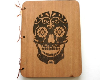 Sugar Skull Wedding Guest Book Engraved Wooden Book Custom Engraved Rustic Day of the Dead Book