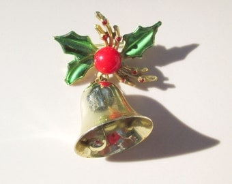 Christmas Holly with dangling Bell Brooch Pin Vintage xmas jewelry