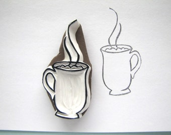 Steaming mug cup cocoa coffee tea cider stamp