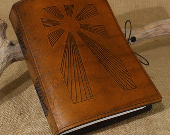 A5, Medium, Leather Bound Journal, Art Deco, Sun Journal, Sunrise, Sun Rays, Brown Leather, Leather Notebook, Blank Book, Personalized.