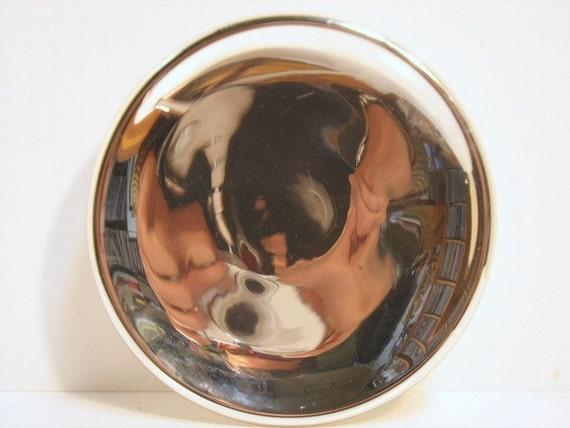 Antique Mercury Glass Oil Lamp Reflector Shield Mirror Vintage