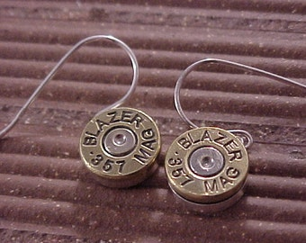 Sterling Silver Bullet Earrings 357 Magnum Brass Shell - Free Shippping to USA