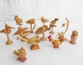 Collection Strange Wooden Birds Carved Wood Bird Figurines Ornaments