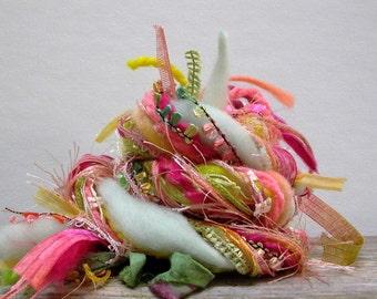 melon ball fringe effects™  art yarn bundle 21yds luxury fibers ribbons sari silk novelty yarn pack . green mint pink yellow peach