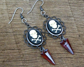 Skull and Crossbones Earrings with Swarovski Crystal Spikes black red ivory Gasparilla pirate chic rocker glam edgy