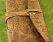 Viking dragon journal with Runes or Runic journal. Antiqued leather and lined paper available in this leather bound journal.