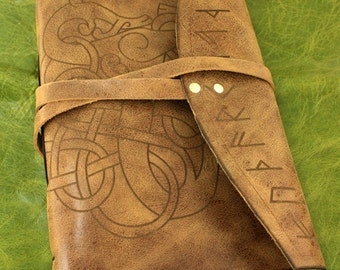 Viking dragon journal with Runes or Runic journal,  antiqued leather and lined paper available in this leather bound journal