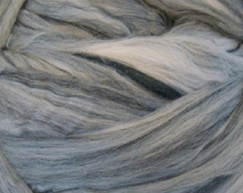 Merino and Dyed Tussah Silk/ Blended Top/ 8 oz /Black and White/ Needle Felting/ Spinning Top/ Combed Top/ Rovings/ Salt and Pepper/