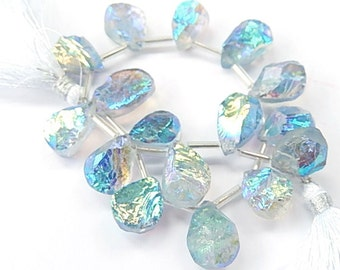 Rock Crystal Quartz Gemstone. Titanium Quartz Drops, 14-16mm. Semi Precious Gemstone. Sold Individually. (55qzdz).