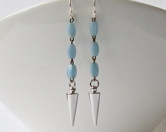 Blue Spike Dangle Earrings Eco-Friendly Recycled Earrings by Perini, Jewelry by Vanessa Perini