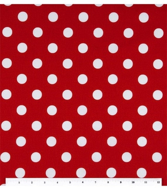 large white on red polka dot cotton fabric 1 yard. Black Bedroom Furniture Sets. Home Design Ideas