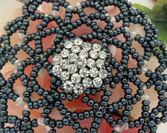 Beaded woman kippah, kippot for ladies, women kippah, wedding kippah, gift box, dark grey pearls, sparkly charm.