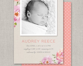 Baby Girl Birth Announcement - Audrey
