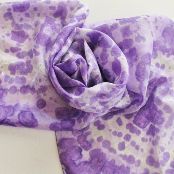 SALE Hand Painted Silk Scarf - Handpainted Scarves Purple Lilac Lavender Gray Grey Pastel Tie Dyed