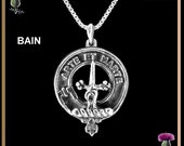 Bain Clan Crest Scottish Pendant - Sterling Silver CLP02