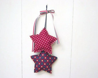 Americana Decor, Star Hangings, Star Wall hanging, Fabric Wall Hanging, 4th of July Decorations, Red White And Blue Decor