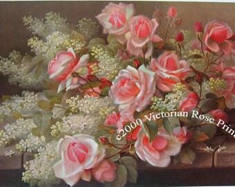 Pink Roses Lilacs, Art Print, Half Yard Long, Paul de Longpre