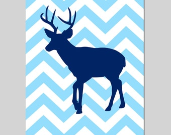 Chevron Deer Nursery Art Print - 8x10 - Kids Wall Art - CHOOSE YOUR COLORS - Shown in Navy Blue, Gray and More