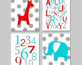 Nursery Art Quad - Polka Dot or Stripe Giraffe, Alphabet, Numbers, Polka Dot Elephant - Set of Four 8x10 Prints - CHOOSE YOUR COLORS