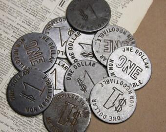Vintage Las Vegas One Dollar Slot Machine Game Token Steel Gaming Coin (3)