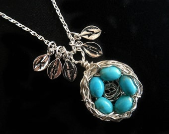 Five 5 Egg Bird Nest Custom Initial Leaf Charm Monogram Mother Gift Wire Wrapped KarmaBeads Stamped