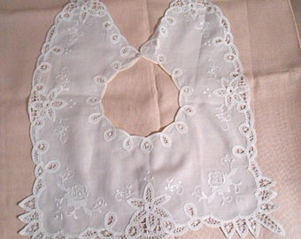 Dainty ROSE BATTENBURG COLLAR Embroidered Lace Loops Stars & Edge Points Fine White Linen, Dress or Blouse Unworn Neck Accent Free Usa Mail