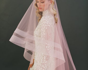 Double Horsehair Veil, Horsehair, Drop Veil, Wedding Veil, Blush Veil, Pink Bridal Veil, Fingertip Veil, Double Ribbon Edge Veil 1203-2&3