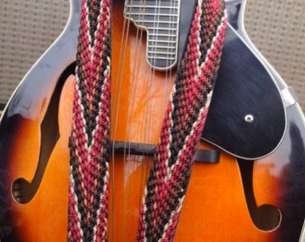 Chevron Finger Woven Mandolin Strap Leathered