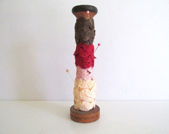 Vintage Wood Spool Silk Rick Rack Trim Ribbon Storage Pink Brown