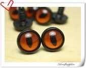 16 mm Orange olive  Toy eyes  Safety eye amigurumi eye doll eyes cat eye 12  pieces EA44