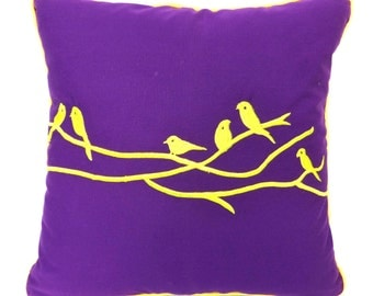 Birds on a branch pillow cover- 18 inch - Custom made