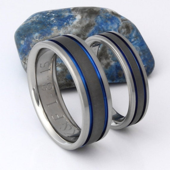 thin blue line wedding ring titanium wedding band set thin blue line rings his and 7969