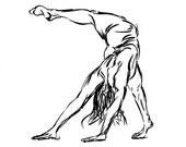 Yoga Art -- Ink Drawing, Downward Facing Dog, Scorpion Variation