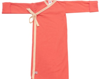 NEW! Coral and Vanilla Bamboo Infant Kimono Wrap 2 sizes