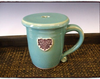 Large Antique Heart Mug in Turquoise with Matching Lid by misunrie