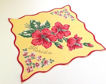 Vintage Florida souvenir handkerchief hanky hankie with hibiscus blossoms 1940s Florida yellow red