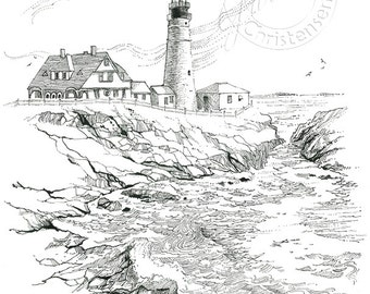 Lighthouse Portland Headlight NEW Pen and Ink Nautical Print from Original Drawing Black and White