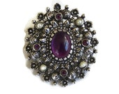 Vintage Purple Cabochon & Rhinestones with Faux Pearl Brooch or Pendant signed Sarah Coventry