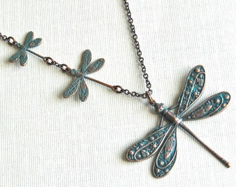 Dragonfly Necklace - Teal Copper Patina, Nature Jewelry, Dragonfly Jewelry, Nature Necklace