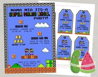 Super Mario Brothers invitation- favor tags- retro- power up- Mario- Luigi- Super Mario Bros.- Nintendo- birthday- party
