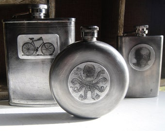 Batch No. 4 Assorted Flasks in Etched & Embossed Designs