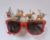 Santa and Reindeer Fantasy Christmas Decorated Kids Childrens Red Sunglasses