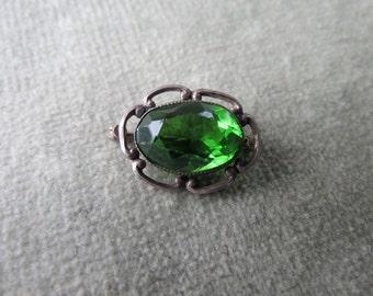Dainty Silver and Green Glass Bezel Set Brooch