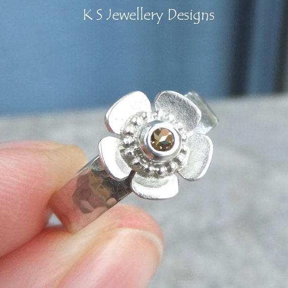 citrine sterling silver buttercup ring gemstone flower ring