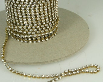 1 ft Czech Crystal Rhinestone Chain 18pp Raw Brass Setting