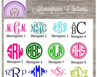 Monogram Decal 12 fonts to choose