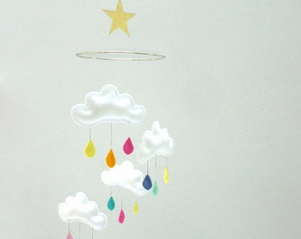 "Rain Cloud Mobile for Nursery ""CUSTOM RAINBOW STAR"" with gold star and moon by The Butter Flying"
