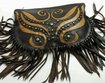 Butterfly Leather Appliqué Clutch, Leather Fringe Clutch Purse, Leather Purse with Fringe, Boho Leather Fringe Purse, Leather Artistry Purse