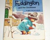 Vintage Paddington Bear Pop-Up Book - Michael Bond - William Collins Sons Co LTD London - Mini Book - Paddington Snowbear - Pop-Up Book