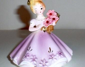 Vintage Josef Originals July Birthstone Figurine - Purple Gown - Pink Flowers - Pink Rhinestones - Porcelain Figurine - Birthstone Doll